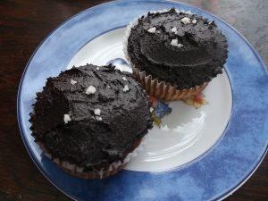 KM_Paleo vanilla cupcakes with chocolate frosting