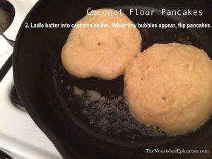 Coconut Flour Pancakes in cast-iron skillet
