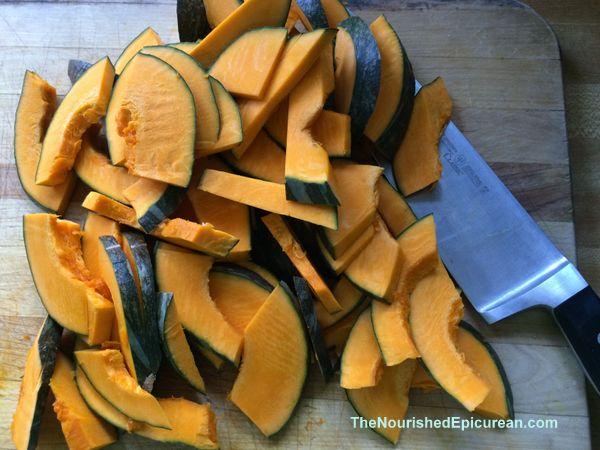 Kabocha squash, slices halved