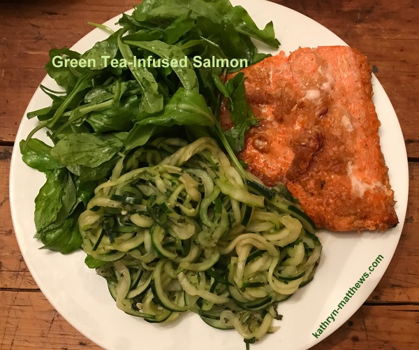 Green Tea Infused Salmon with Cucumber Noodles