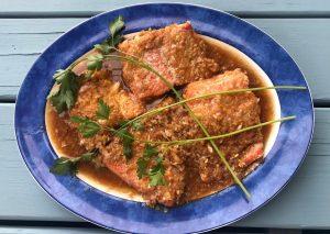 Wild-caught salmon in Spiced Dandelion Tea Broth