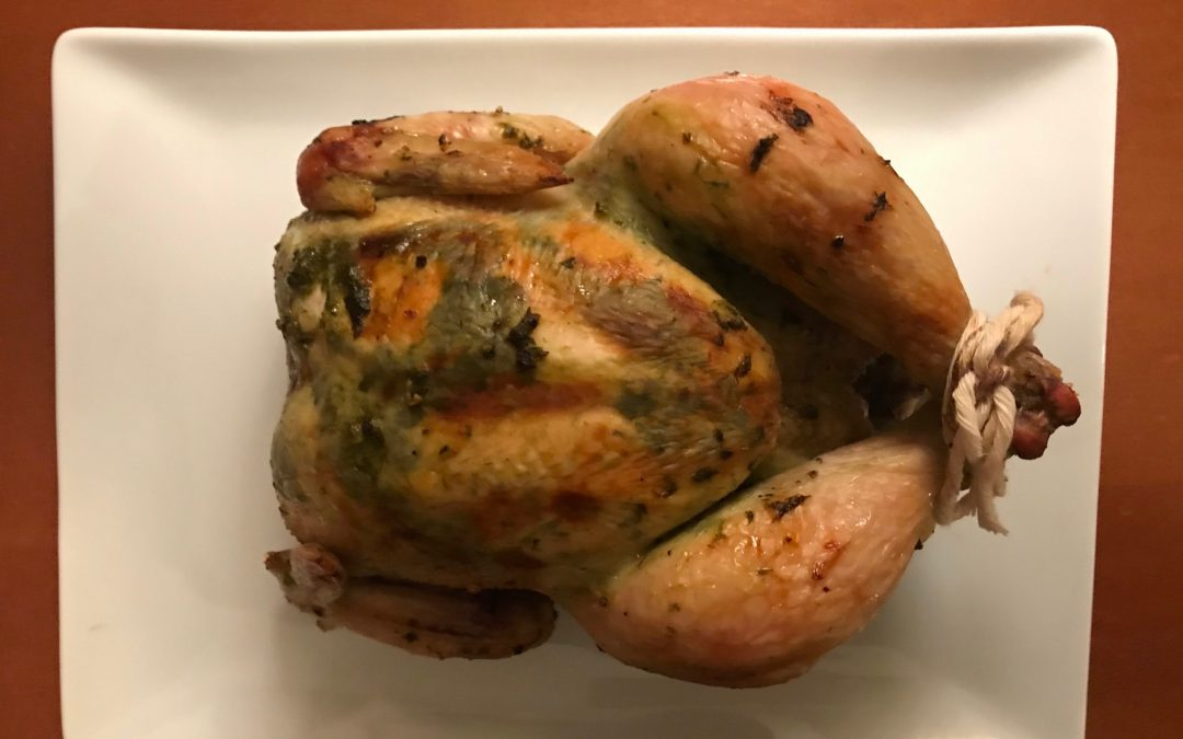 Simple Roast Chicken with Garlic Chive Rub