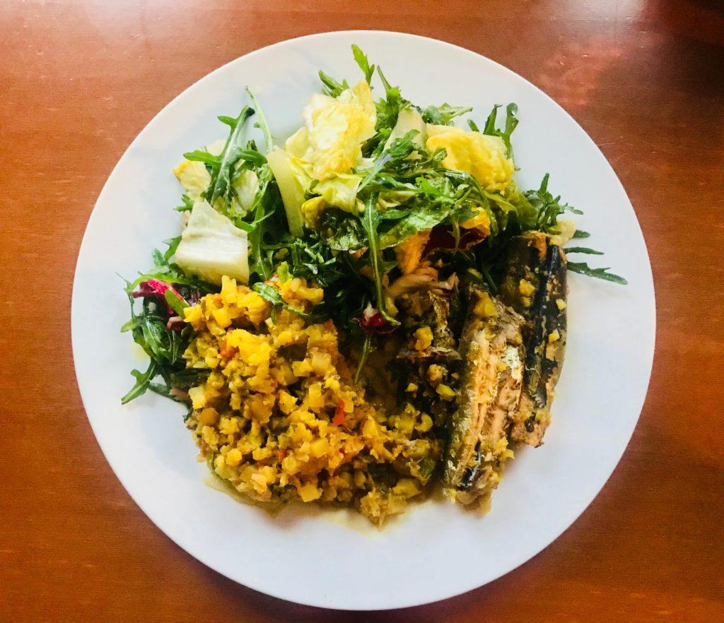 Cauliflower Rice + Org Greens + Sardines