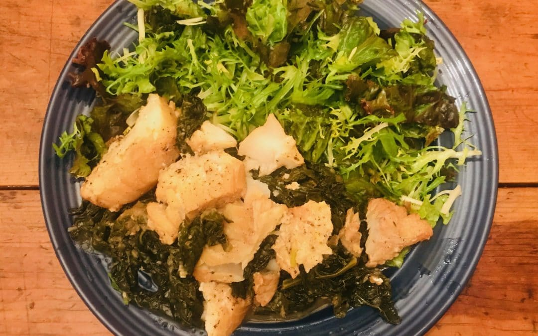 Greek-Style Stewed White Fish with Horta