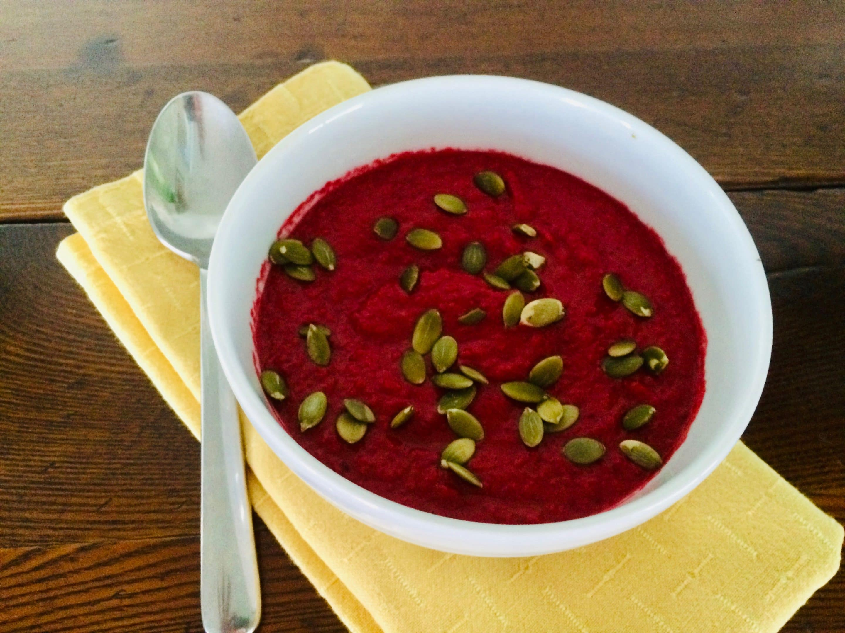 Creamy Raw Beet Soup with Toasted Pumpkin Seeds